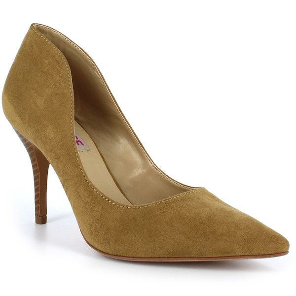 DOLCE by Mojo Moxy Camel Tammy Pump ($20) ❤ liked on Polyvore featuring shoes, pumps, slip-on shoes, slip on pumps, high heeled footwear, mojo moxy and camel pumps