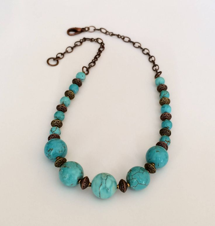 Turquoise Bead Necklace Christmas Gift for Her Mom Wife Girlfriend Short Bead Necklace Blue Stone Necklace Trendy Necklace Turquoise Jewelry by BarbsBeadedJewelry on Etsy