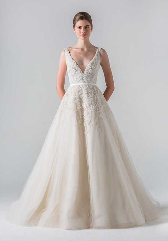 V-Neck Gown on Full A-Line Skirt with Intricate Embroidery | Anne Barge | https://www.theknot.com/fashion/versailles-anne-barge-wedding-dress