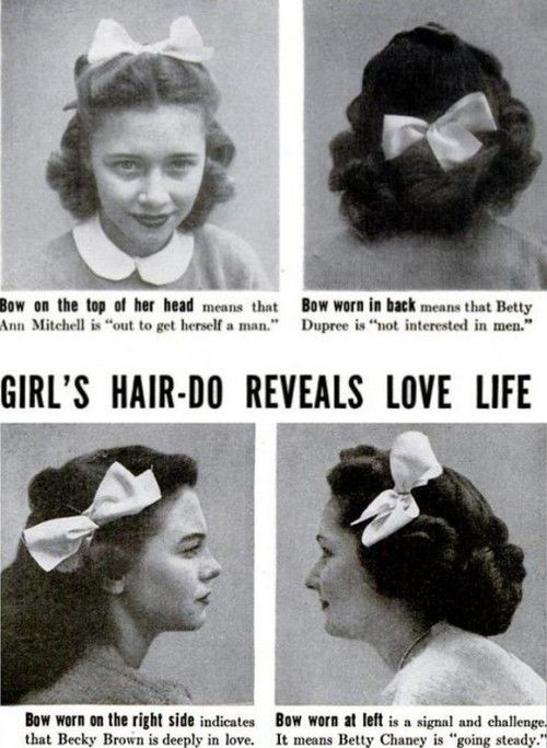 Vintage poster about what the placement of a hair bow means about a woman's love life.
