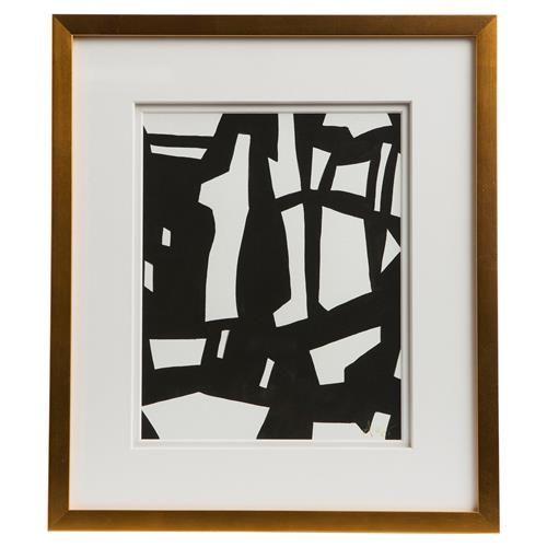 Peyton Modern Classic Black White Gold Frame Wall Art - IV | Kathy Kuo Home