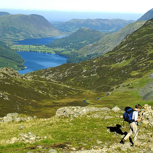 Walkers on the Coast to Coast Walk between Ennerdale and Borrowdale, England.