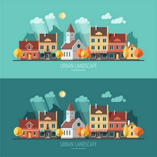 Flat design urban landscape illustration on Behance