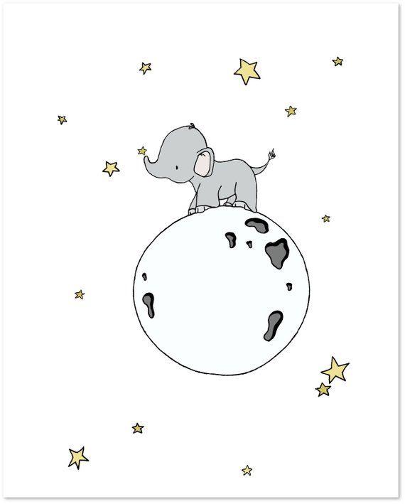 Elephant Nursery Art Print – Elephant Moon Walk – Nursery Art – Kids Wall Art – Children Art