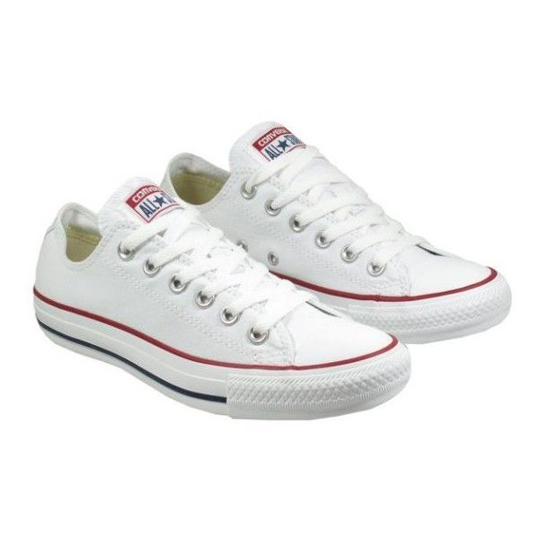 Converse Womens Shoes All Star Ox Low Optical White ❤ liked on Polyvore featuring shoes, sneakers, low shoes, white trainers, converse footwear, white sneakers and white shoes