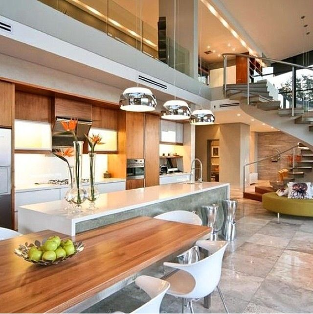 The warm lighting and the double open ceilings
