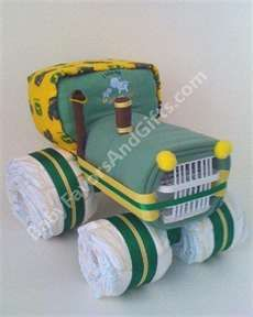 John Deere tractor diaper cake. Unique baby shower gifts, centerpieces, decorations