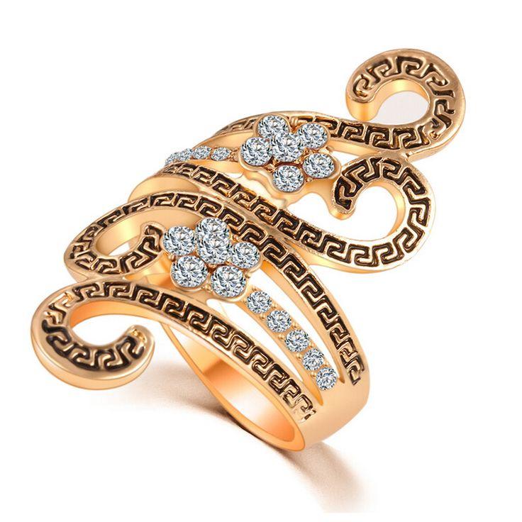 New Charm Hot Fashion Women's Personalized Wedding Romantic Zircon Hollow Ring Jewelry Trendy Rhinestone