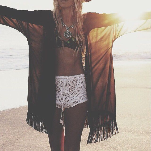 Sexy boho chic crochet boy shorts with gypsy style fringe swimsuit cover up and modern hippie turquoise necklace. For the BEST Bohemian fashion trends FOLLOW http://www.pinterest.com/happygolicky/the-best-boho-chic-fashion-bohemian-jewelry-gypsy-/