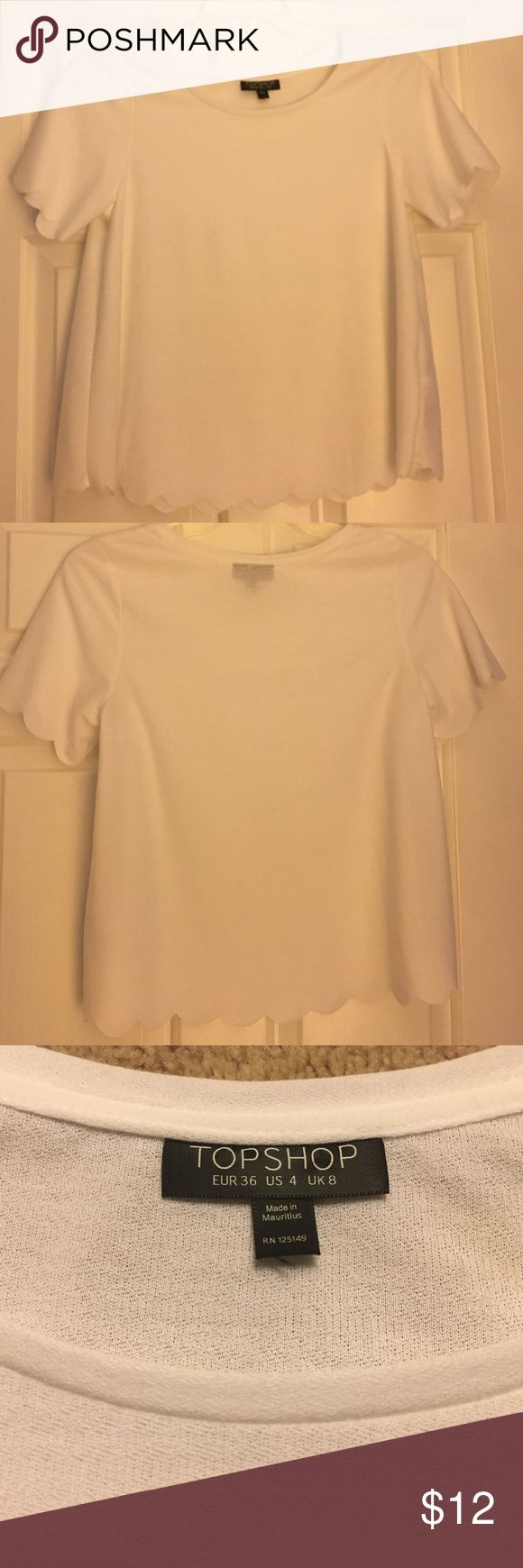 Scalloped top White, scalloped top! Good condition! Topshop Tops Blouses
