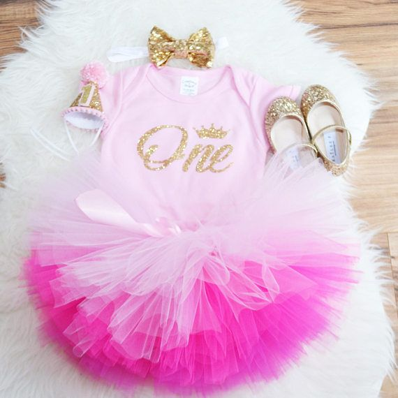 5b07e229b Pink Gold first birthday outfit