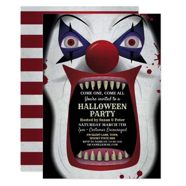 Scary Clown Halloween Party Carnival Circus Horror