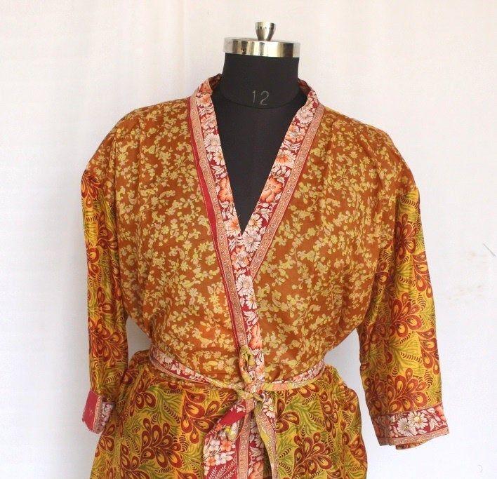 bohemian womens clothing Vintage Sari Hippie Womens maxi Dress Bath Robe Gown Dress sari fabric kimono jacket recycled kimono art silk