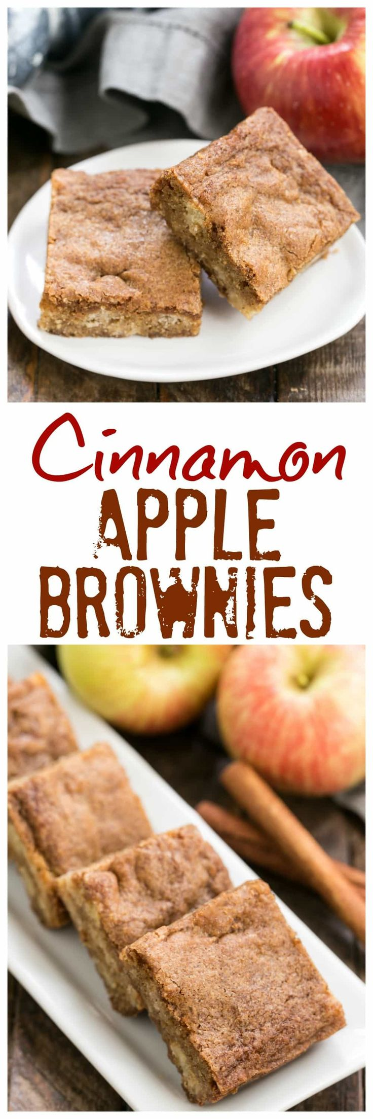Apple Brownies | Chock full of fruit chunks and spiced with cinnamon #appleblondies #appledessert