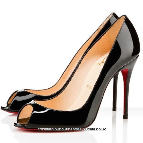£93   Christian Louboutin Sexy 85 Patent Leather Black Peep Toe