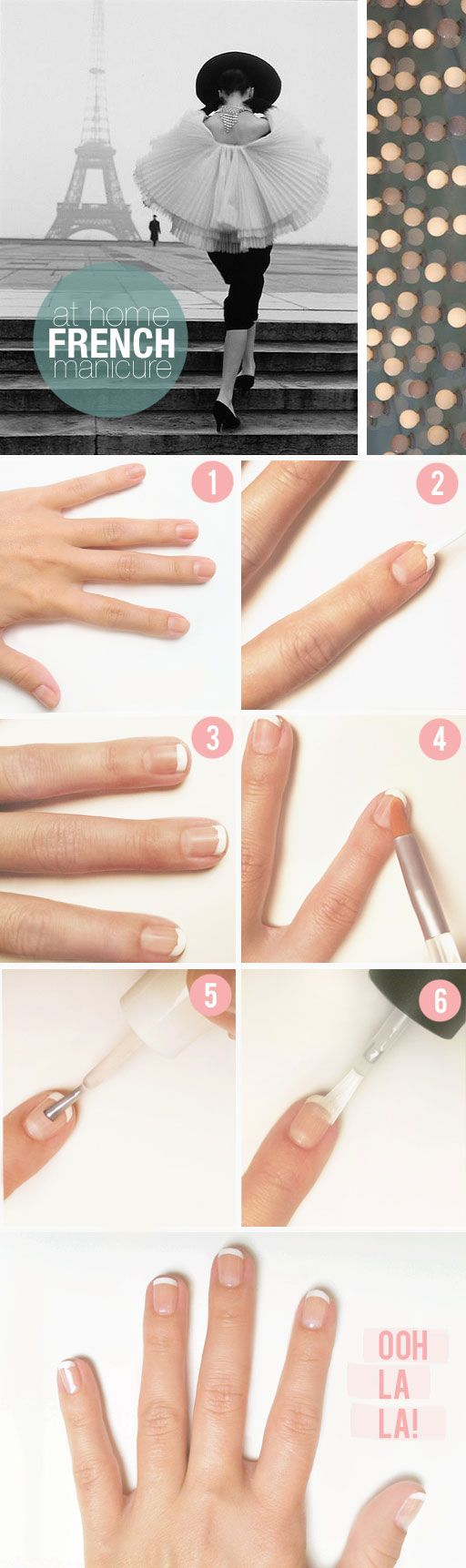 Step-by-step french tip manicure (I never knew what that brush had on it.  Silly me not thinking of nail polish remover.  Sheesh!)
