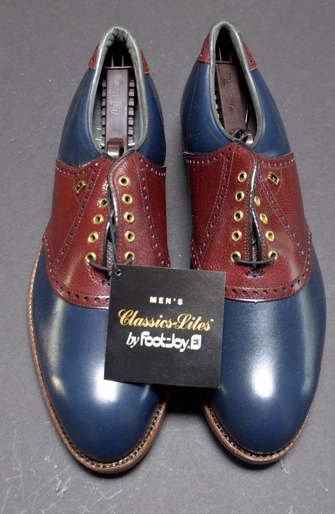 NEW VINTAGE FootJoy Classics 9.5D GOLF SHOES Blue & Brown Saddle Oxfords Men #FootJoy #GolfShoes