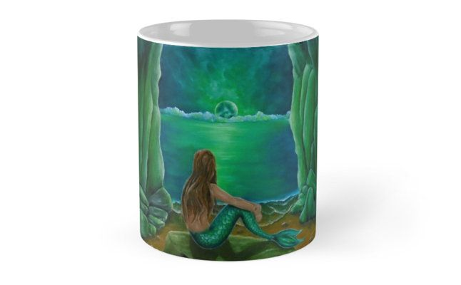 Coffee Mug, mermaid, green, fantasy,home,kitchen,accessories,cool,beautiful,unique,artistic,unusual,for sale,design,gifts,presents,ideas, redbubble