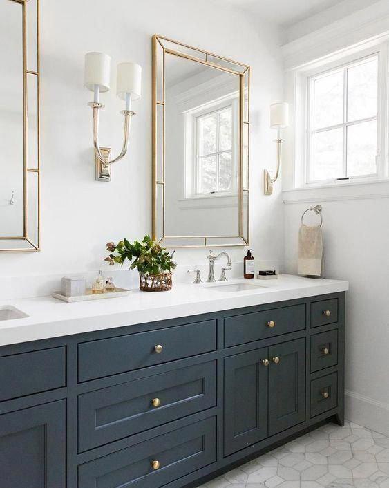 French Deco Horn Double Sconce Linen Polished Nickel In 2020 Trendy Bathroom Bathroom Interior Bathroom Sink Vanity
