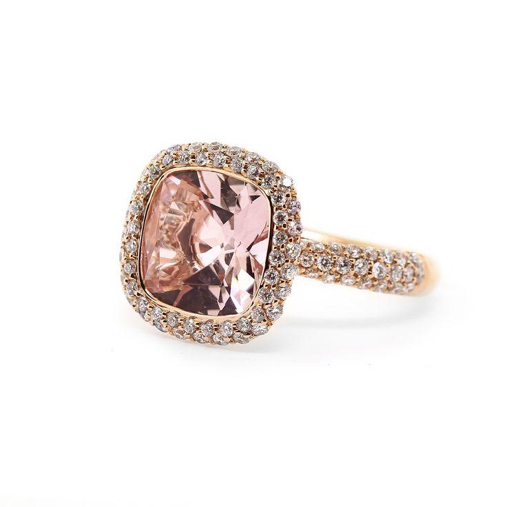 Rose Gold Pink Morganite Diamond Ring