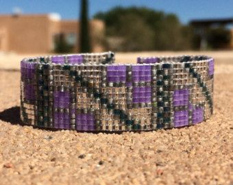Morning Garden Bead Loom Bracelet Artisanal Jewelry by PuebloAndCo