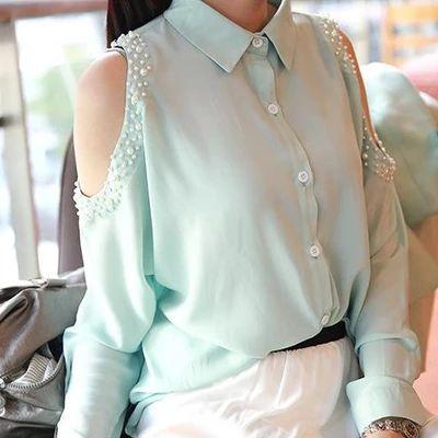 Bahar omuz gömlek kadın askısız inci çivi uzun kollu şifon gömlek şifon gömlek gömlek dip gömlek Güney Kore versiyonu - Taobao