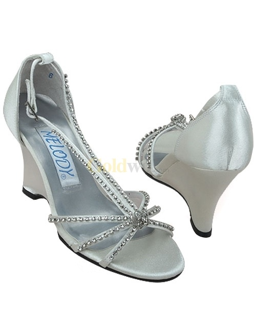 [US$74.99] Ivory Satin Rhinestone Wedding Wedge Sandals  Silver or white would be better