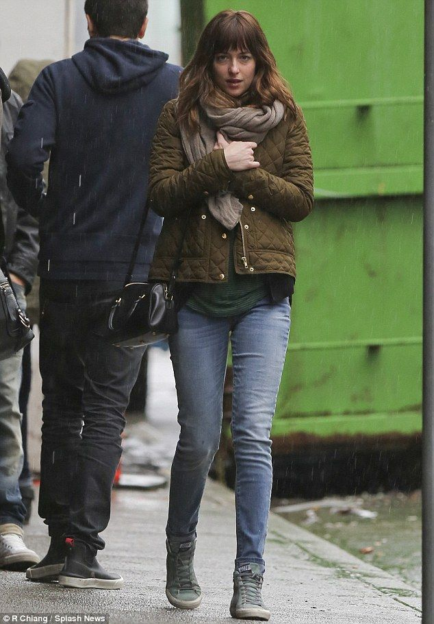 On set: Fifty Shades of Grey star Dakota Johnson and Jordan Masterson grab some brunch in Vancouver amidst filming the screen version of the popular book