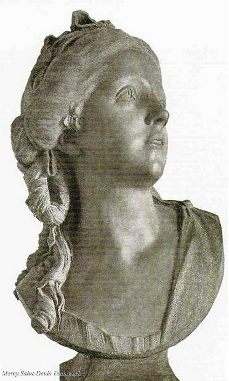 Presumed bust of Madame de Polignac.She died in Austria in December 1793, shortly after hearing of the execution of Marie-Antoinette. Her family simply announced that she had died as a result of heartbreak and suffering.