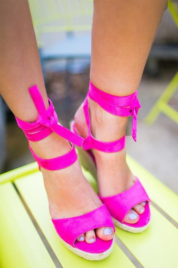 6e025662ecca The Laguna Beach Wedge In Hot Pink- 36  As Shown. Suede lace-up ...