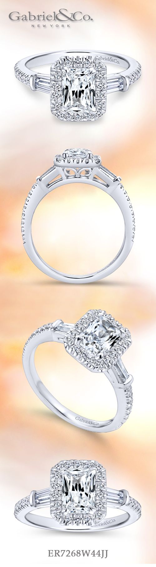 Gabriel & Co. - Voted #1 Most Preferred Bridal Brand.       An emerald cut diamond engagement ring is enhanced by a pave diamond halo.