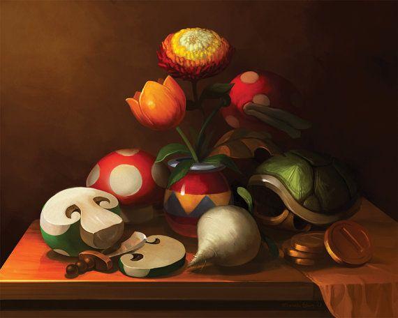 8x10 Mario Still Life Print by Lizustration on Etsy
