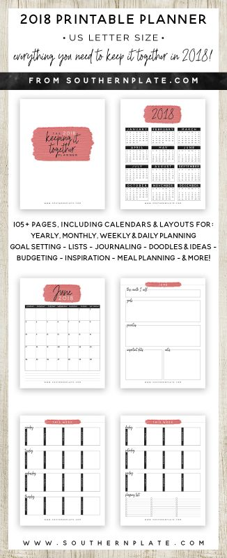 Free 2018 Keeping It Together Planner {subscription required} https://www.southernplate.com