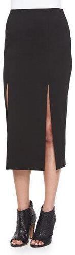 Nicholas Midi Pencil Skirt W/Double-Slit, Black