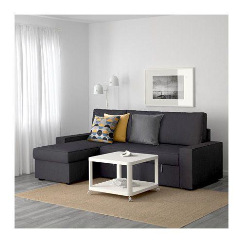 VILASUND Divano letto con chaise-longue - Dansbo grigio scuro, - - IKEA