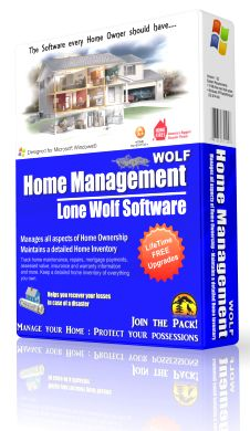 Home Management Wolf Manages All aspects of home ownership. Tracks multiple residences and properties, Seasonal Home Maintenance Schedule. Track Home value, mortgage payments, Stores Home warranty & insurance info. Saves images, receipts and invoices. Creates a Home To-Do List. Tracks the value of all your possessions.