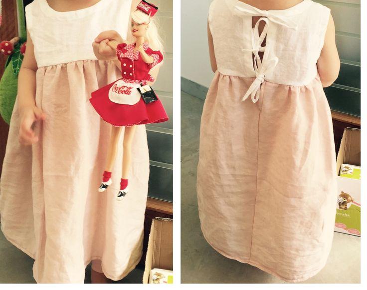 Linen homemade girls dress