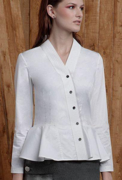 Asian Peplum White Cotton Blouse