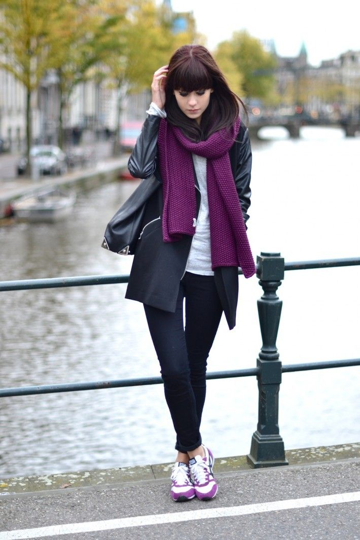 purple scarf with sporty chic outfit