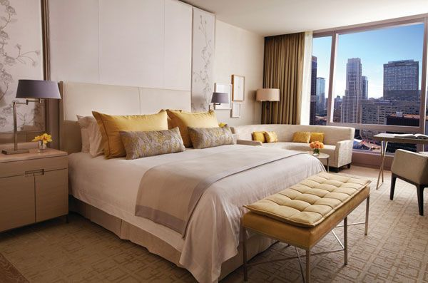 Yabu Pushelberg's warm, residential-inspired design for the 259 rooms and suites at the new Four Seasons Hotel Toronto uses understated neutrals, elegant floral accents and fresh pops of dandelion yellow.