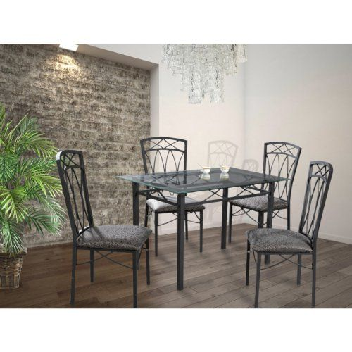 Transitional 5-piece dining set Grey with glass table top and 4 decorative chairs Perfect for any decor