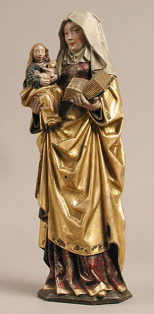 Saint Anne Holding the Virgin & Child (1500-25, South Netherlandish, walnut w/ polychromy & gilding, & gold wire, The Metropolitan Museum of Art, New York)