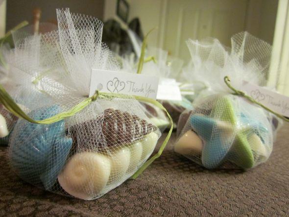 DIY Seashell candy favors :  wedding beach wedding blue diy favors green seashell candies teal Done2