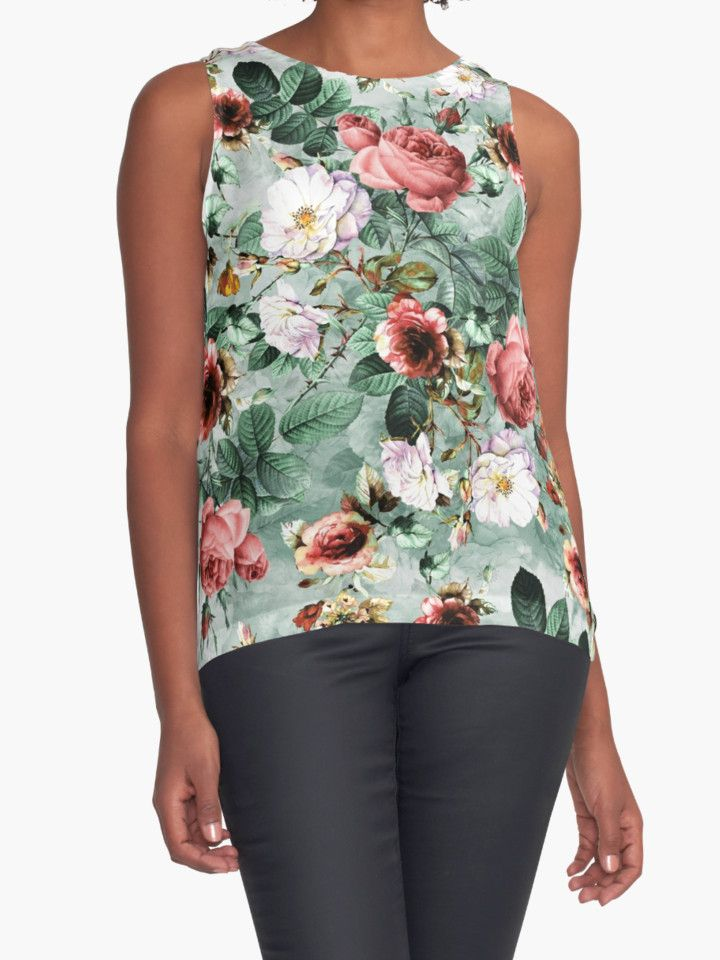 Rpe Seamless Floral Pattern I by RIZA PEKER #women #fasfion #tank #top #floral #summer #style #girls