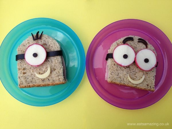 Eats Amazing UK - Simple minion themed sandwiches - Fun idea for your kids packed lunch