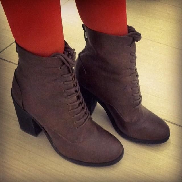 ankle lace up boot with 1-2 inch heel