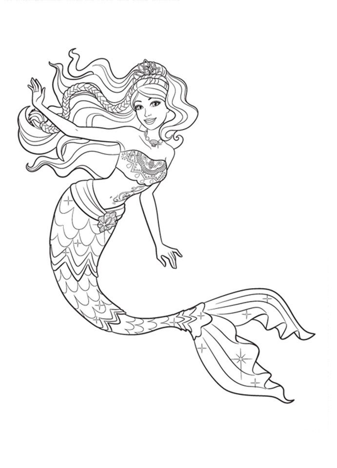 Desenhos de sereia para colorir pintar imprimir