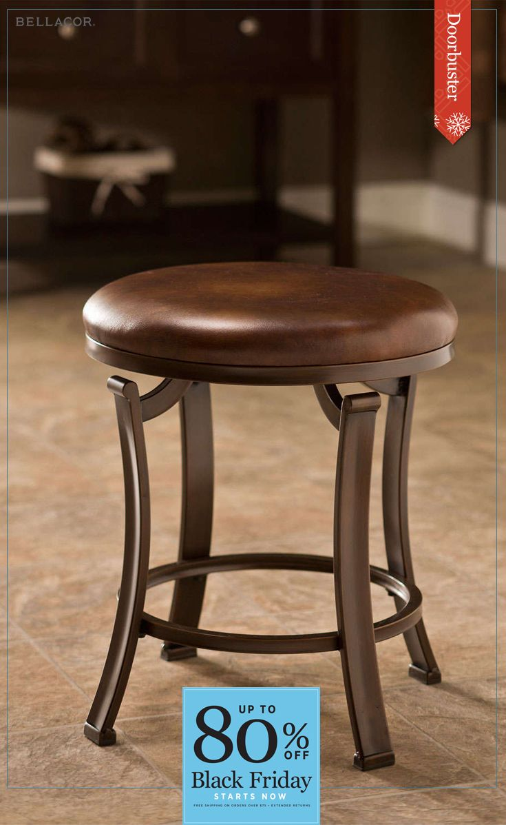 Cyber Monday Deals continue! Backless and simple in design, the Hastings is the perfect accompaniment to already busy spaces. The Hastings boasts a set of elegant flat legs, as well as a classical polished bronze finish and copper (antique bronze) and antique brown fabric seat. Enjoy doorbuster savings during the following dates: 11/18 - 11/28.  Sign up for our newsletter and save 15% today! A one time 15% offer promo code valid for 30 days.
