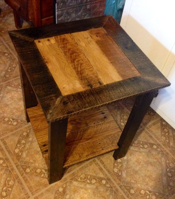 reclaimed wood end table side table pallet wood by RAWOODESIGNS