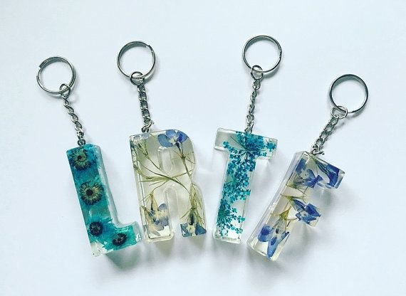 BLUE Initial Pressed Flower Resin Letter Keyrings / Keychains / Party Favours / Wedding Favours